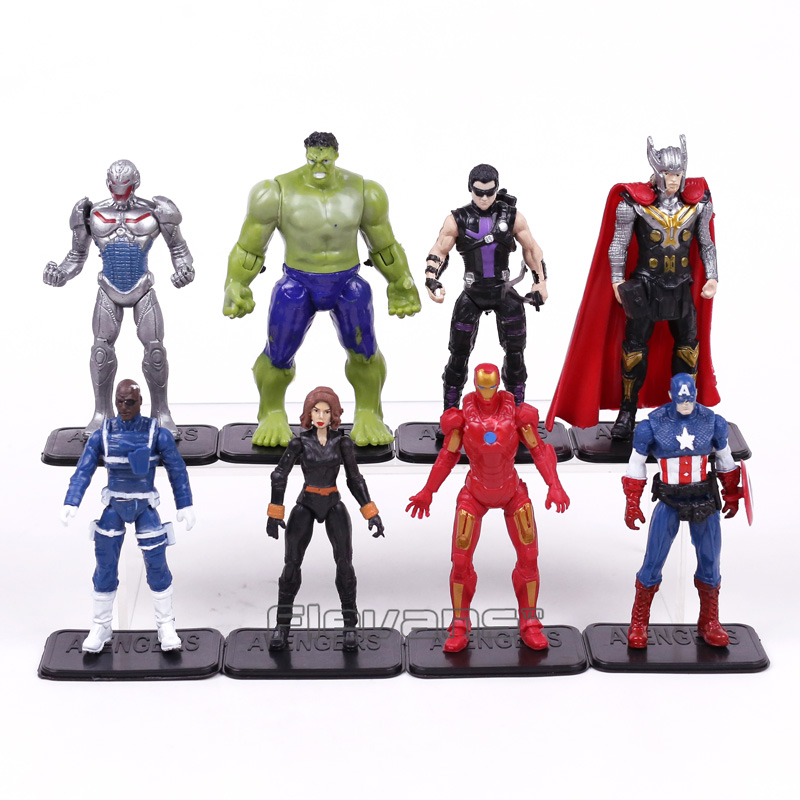 Avengers Age of Ultron Hulk Thor Iron Man Captain America Hawkeye Black Widow Quicksilver PVC Figure Toys 8pcs/set