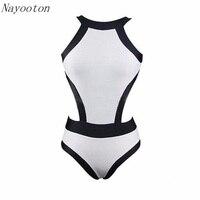 2016 New Black And White Sexy Beach Women S Swim Swimwear Halter Professional Bikini ONE PIECE