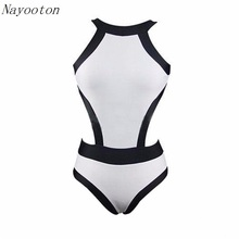 Black white spell color beach women's swim swimwear high waist professional bikini  ONE PIECE SWIMSUIT  Free shipping