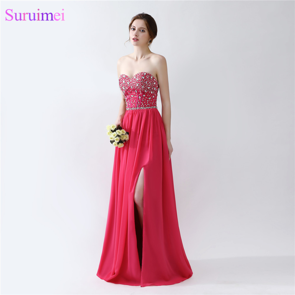 Rose Pink Prom Dresses Floor Length Beaded Semi Formal Side High ...
