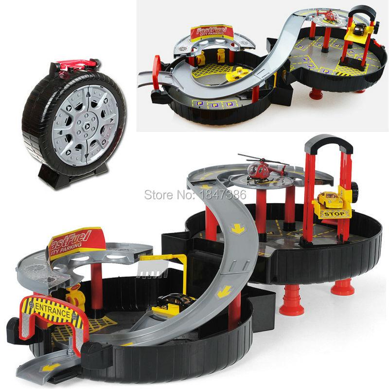 spiral roller rail alloy vehicles kids city parking garage toy city car truck vehicle auto 2