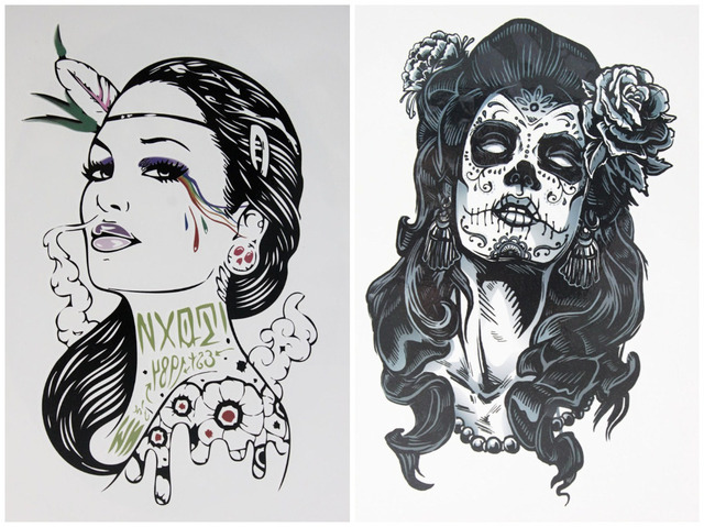 2 pcs set tattoo smoke gangster women gangster rose tattoo girl waterproof temporary tattoo