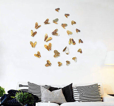 12Pcs Creative 3D Butterfly Wall Stickers Decal Hollow Out Removable DIY  Gold Silver Sticker Kids Art Nursery Xmas Decoration