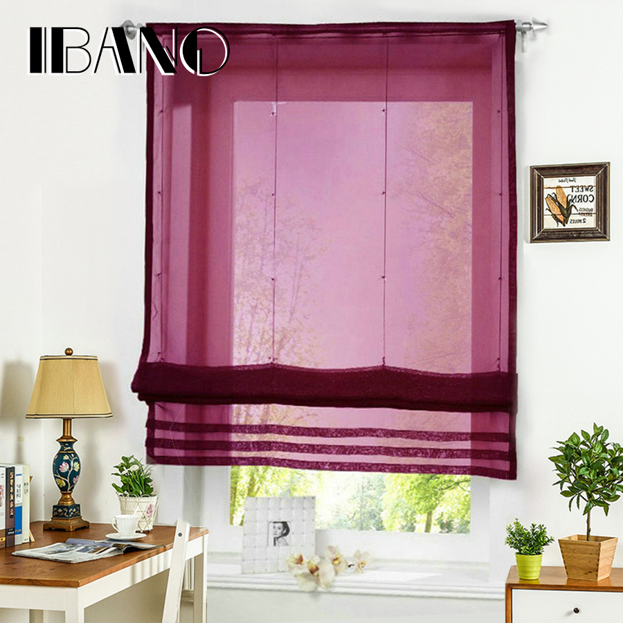 Roman Curtain Solid Sheer Fönster Panel Drape För Kök Living Room Tab Top Voile Screening Rod 1PCS Med Plaströr