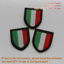 """20344 Italy National Flag Shield Iron On Patches """"accept Customized"""" Guaranteed 100% Quality Embroidered Patch"""