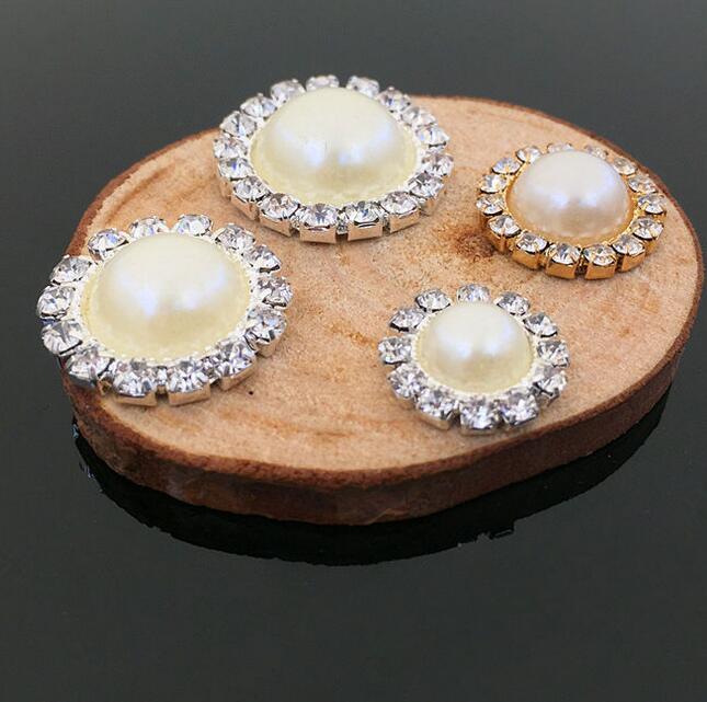 10x Rhinestone Pearl Flower Buttons Wedding Flatback Embellishment 22mm