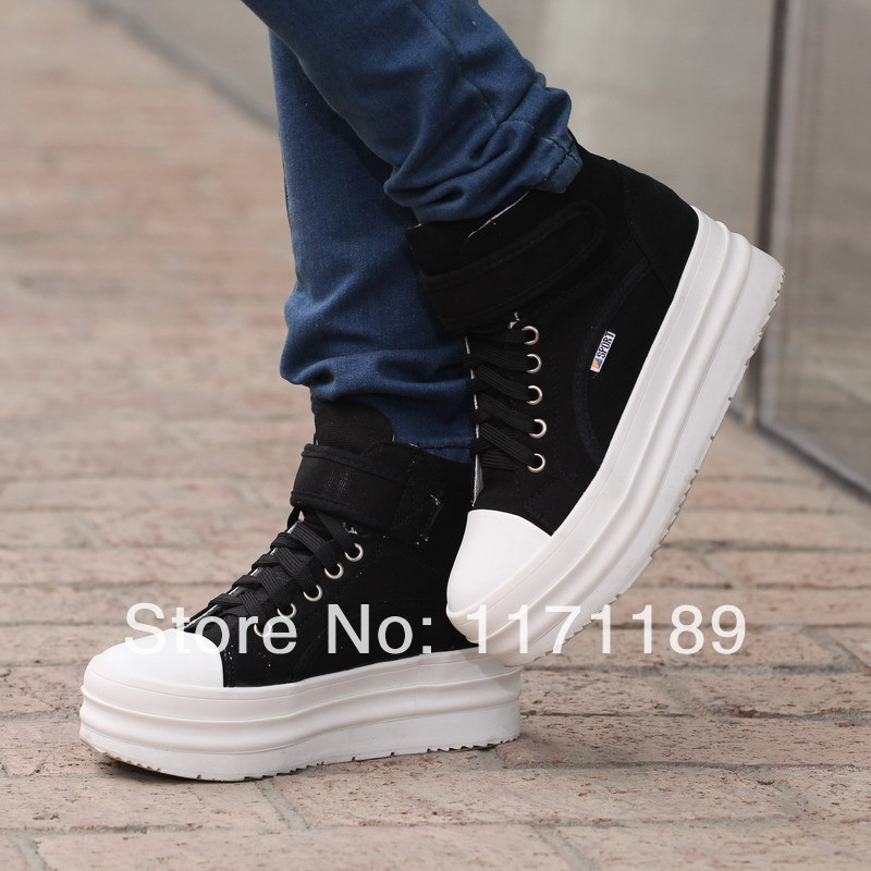 Womens Flat Platform Canvas Sneakers High Top Lace Up -8493