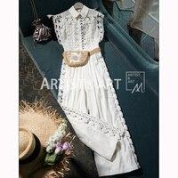 Svoryxiu праздничный стиль ~ элегантные открытые белые комбинезоны с вышивкой Женские весенне летние Подиумные сексуальные широкие комбинезон