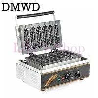 DMWD Commercial Electric 6 pieces Crispy corn hot dog waffle maker non stick French Muffin sausage Machine EU US plug 110V 220V