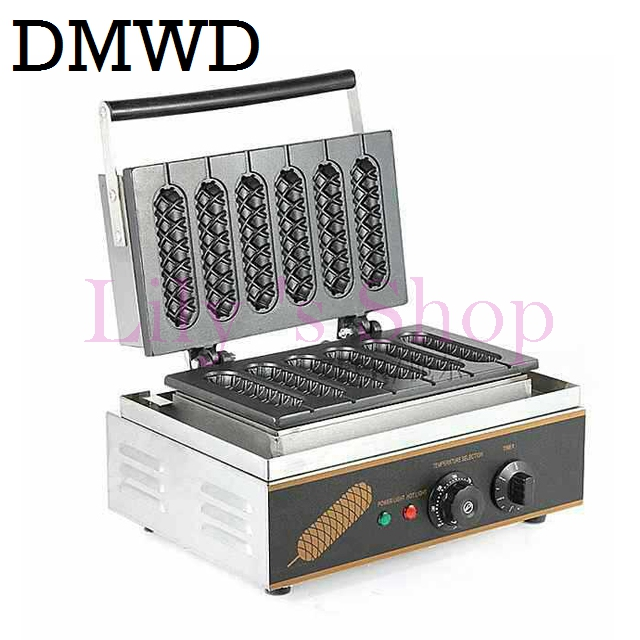DMWD Commercial Electric 6 pieces Crispy corn hot dog waffle maker non-stick French Muffin sausage Machine EU US plug 110V 220V commercial use gas corn hot dog waffle machine waffle stick for 15 pcs eu us adapter plug stainless steel holder stand baker
