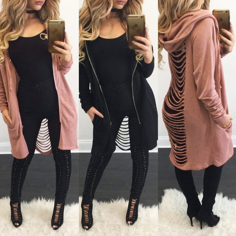 2017 fashion winter designned black pink Sexy Back Hollow Sweater Hooded Jacket sexy ladies casual long