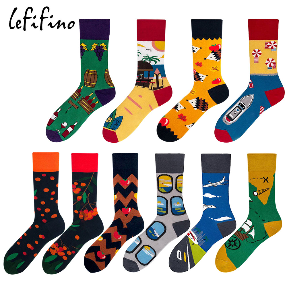 men cotton   socks   happy long colorful wedding wine fruit unisex   socks   korean cartoon crazy novelty women funny crew   socks   Ne78330