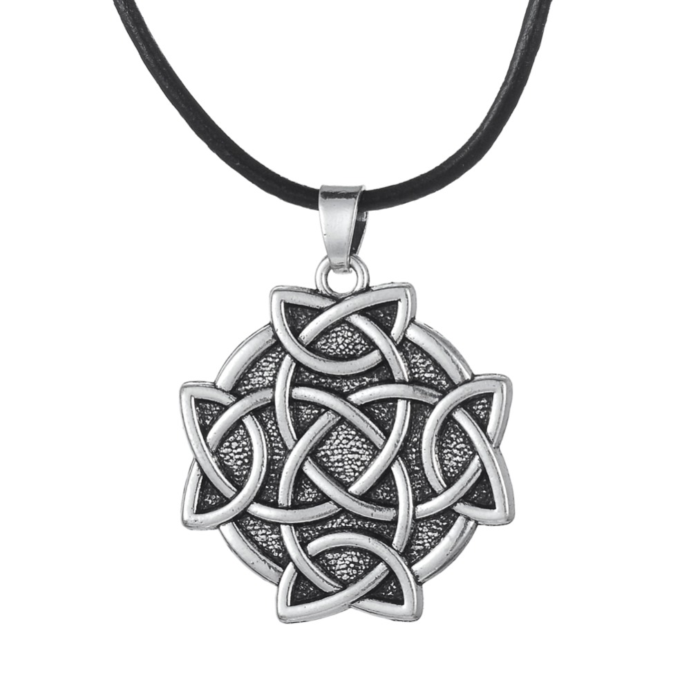 Antique Silver Plated Flower of <font><b>Life</b></font> Religious Pendant Leather Chain Necklace with <font><b>Lobster</b></font> Clasp Hot Sale Jewelry Men&Women