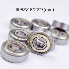 608ZZ 8*22*7 (мм) Несущая Бесплатная доставка ABEC-5 10 шт. металлический герметичный хромированные стальные подшипники использовать для скейтборд роликовые коньки оборудования