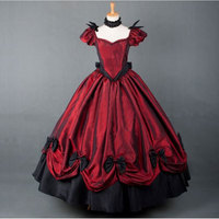 Gothic Victorian Lolita Dresses Theater Costume 18th Century Retro Wine Red and Black Bow Carnival Ball Gown For Women