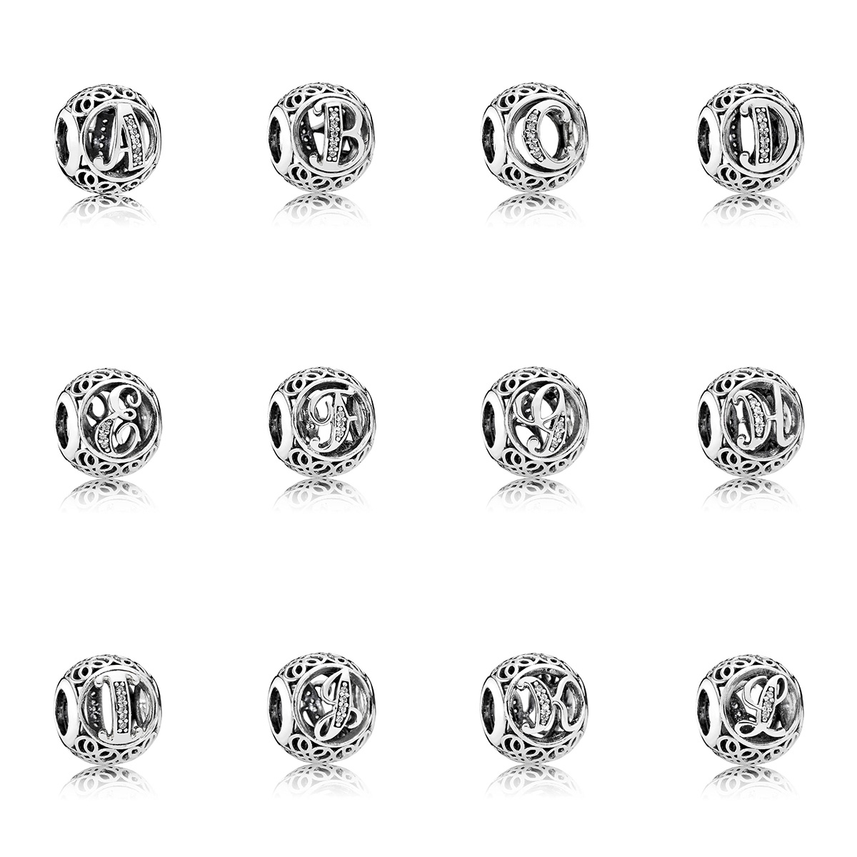 925 Sterling Silver Beads Charms 26 Letters A L Bead for