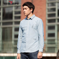 Seven7 Brand High Quality Casual Shirts For Men 100% Cotton Long Sleeve Slim Fit Fashion Design Business Dress Shirt Clothes