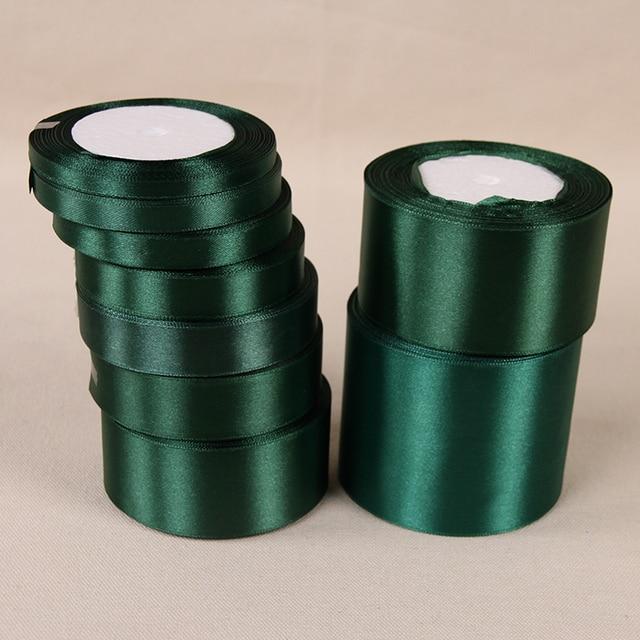 25 Yards Dark Green Silk Satin Ribbon Wedding Party Home Decoration Gift Arel Sewing Fabric Bow