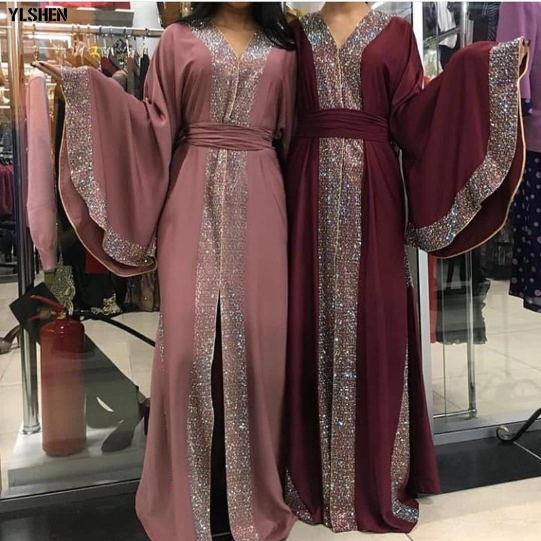 2019 Luxury Diamonds Abaya Dubai Muslim Dress Elegant Pure Color Islamic Clothing Cardigan Robes Kaftan Abayas For Women Kimono