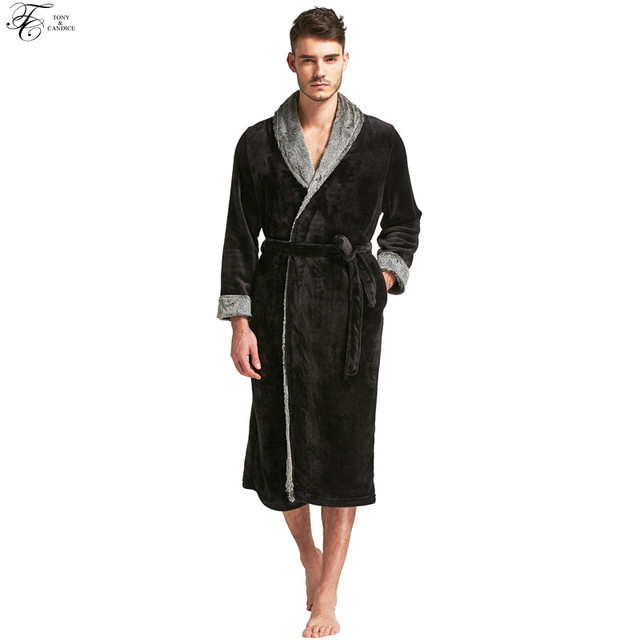 Tony&Candice Bathrobe Men Flannel Stitching Nightgowns Male Long ...