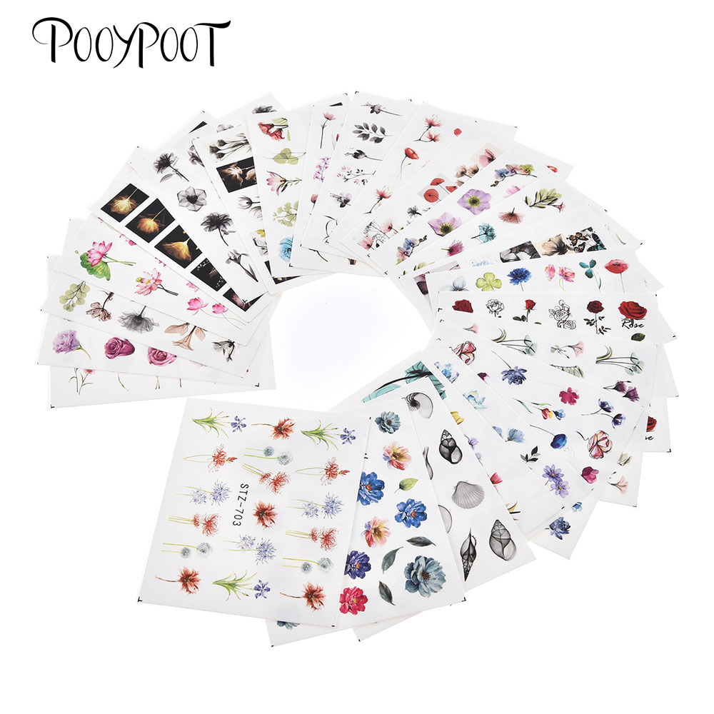 Pooypoot 24Pcs Nail Stickers Water Decals Mixed Design Watercolor Floral Sticker Transfer Slider Nail Art Design Accessories in Stickers Decals from Beauty Health
