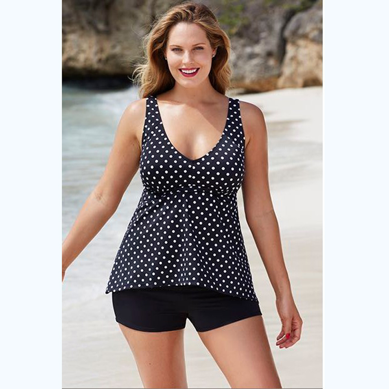 5bb603968c Sexy 2017 Women Swimwear Two piece Dot Tankini Swimsuit Bather Beach Bathing  Suit Sport Bodysuit Black Plus size-in Two-Piece Suits from Sports ...