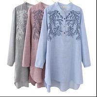 New Blusas Feminine Plus Size Women Tops Art Blouse Floral Embroidery Long Sleeve Shirts Dress Autumn