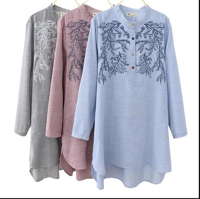 4b487f84c45 New blusas feminine plus size women tops art blouse floral embroidery long  sleeve shirts dress autumn loose stripe shirts XXXXL