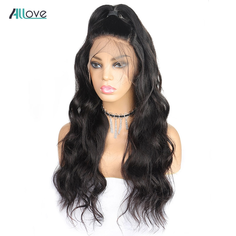 Allove 360 Lace Front Human Hair Wigs Brazilian Body Wave Lace Front Wigs Pre Plucked With