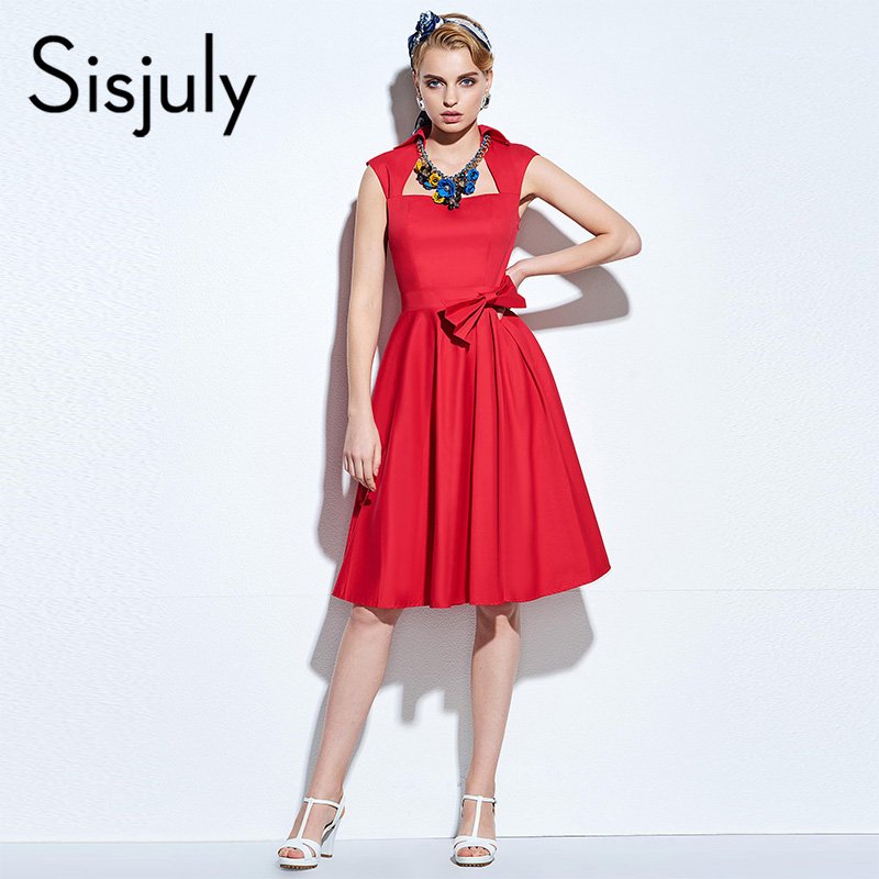 Sisjuly 1950s vintage dress women summer sleeveless red a-line bow solid polyester elegant women's retro ankle-length dresses