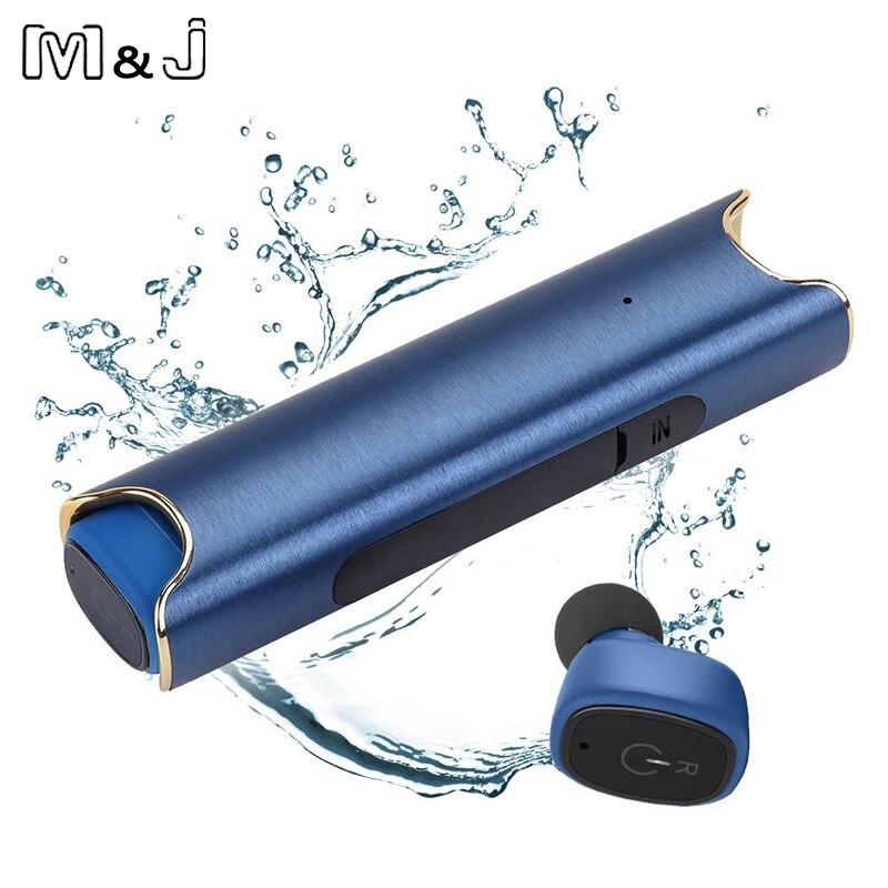 M & J auriculares inalámbricos auriculares Bluetooth TWS Earbuds IPX7 impermeable verdadero inalámbrico con el Banco de potencia