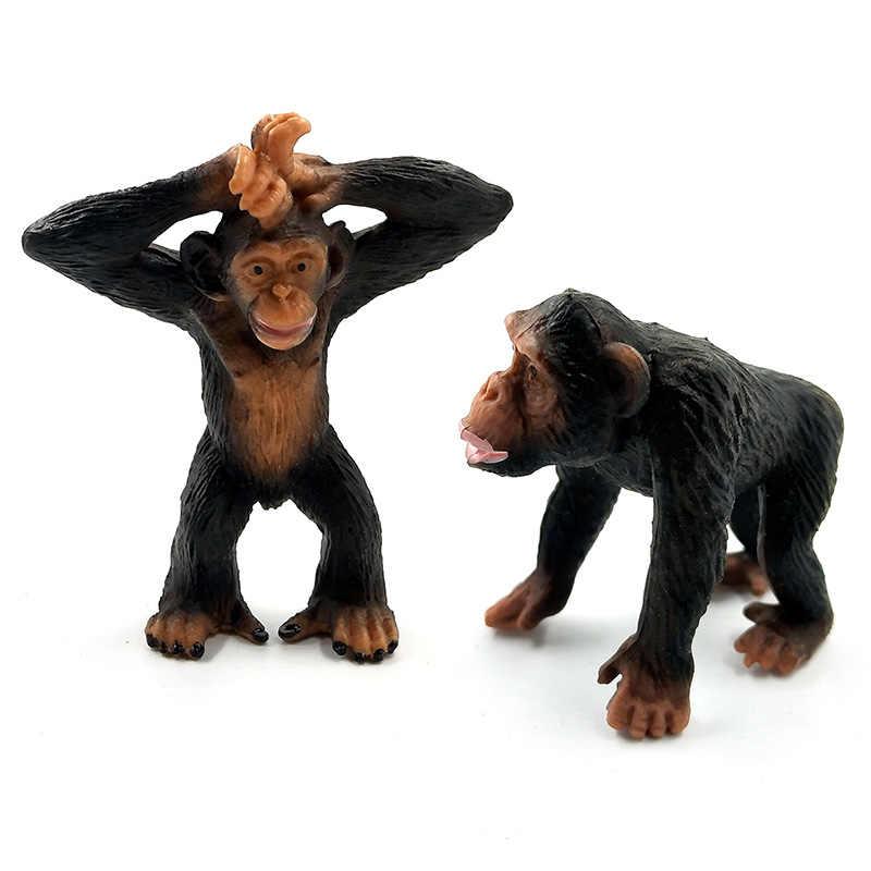 Simulação veados warthog lince mandril burro gibbon porco-espinho kiwi pássaro chimpanzé pvc modelo animal estatueta brinquedo jardim figuras