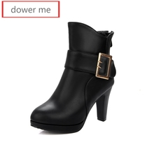 dower me 2017 women's boots, leather production, ankle boots, boots, American and European styles, women's shoes 34-43