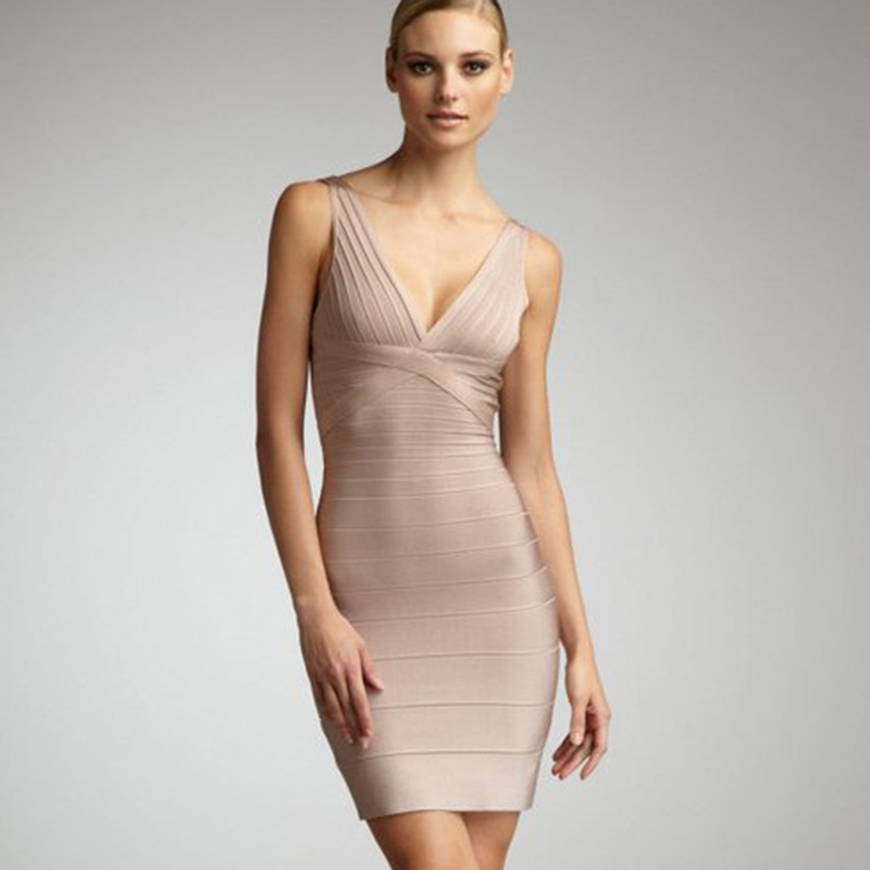 Khaki Womens Noble Bandage Dress Celebrity Spaghetti Strap Apricot Deep V Neck Party Evening Girls Female Formal HL9121