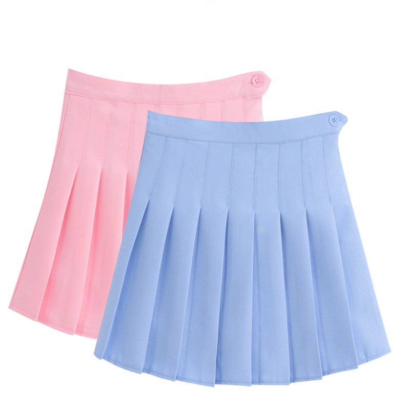 Merry Pretty New Fashion Women Skirt High Waisted Solid Mini Skirts Womens Black Pink Bottoms Pleated Skirt Zipper Saia Preta