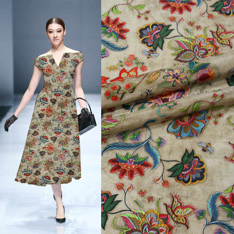 2018 new 138cm wide 12mm silk inkjet Crepe de Chine skirt dress shirt 100% silk printed fabric silk cloth 0.5 meters wholesale