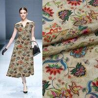 2018 new 138cm wide 12mm silk inkjet Crepe de Chine skirt dress shirt 100% silk printed fabric silk cloth 0.5 meters wholesale