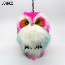 JORYOX 2017 Multicolor Cute Fluffy Owl Keychain Trinket Creative Women Artificial Rabbit Fur Ball Car Key Ring Pendant Jewelry