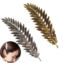 1Pcs Novelty Elegant Women Gold Silver Hair Clip Feather Leaves Barrette Hairpin Accessories Styling Tools Free Shipping