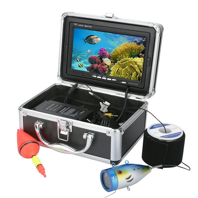 7 Inch 1000tvl 20M/30M/50M Underwater Fishing Video Camera 12 LED Infrared Lamp Lights Video Fish Finder Lake Under Water fish 30m video