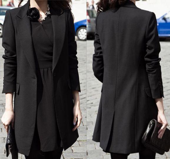 Fashion Womens Long Design Suit Jacket Outerwear Black Professional