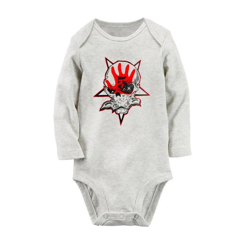 5FDP Death Punch California Metal Band Design Newborn Baby Boys Girls Bodysuit Outfits Long Sleeve Jumpsuit 100% Cotton