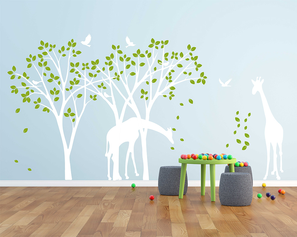 Aliexpress Buy Giraffe Decal Jungle Nursery Birds Wall Sticker