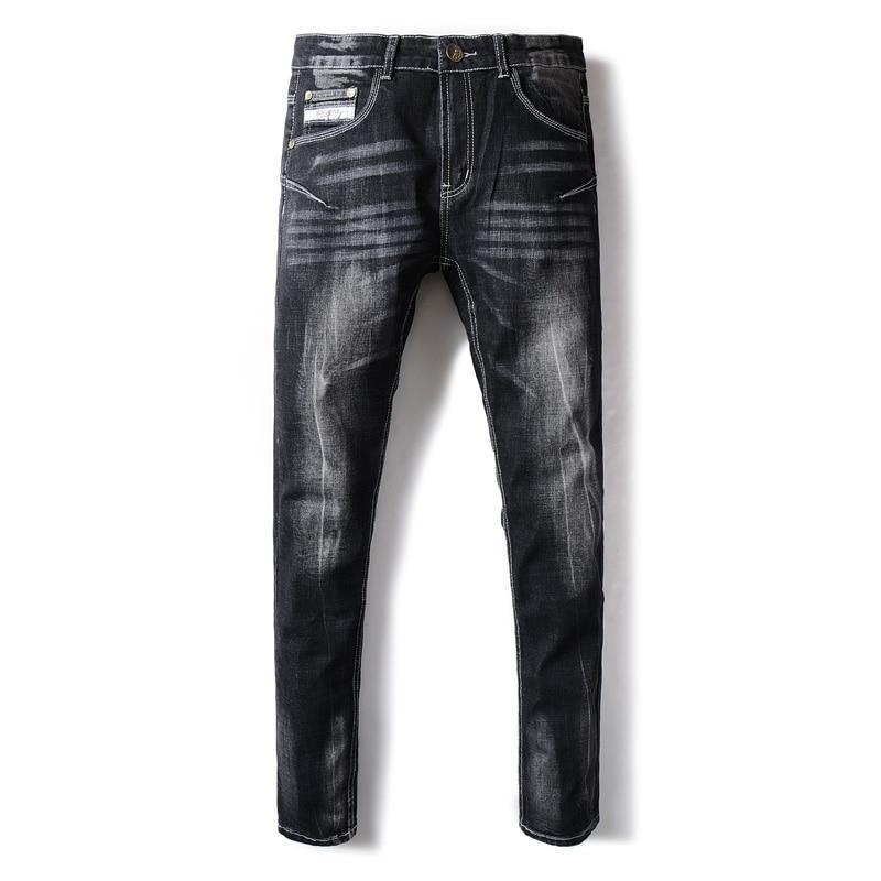 Italian Style Retro Fashion Mens Jeans Black Color Elastic Skinny Jeans Men DSEL Brand Stretch White Wash Stripe Jeans Pants italian visual phrase book