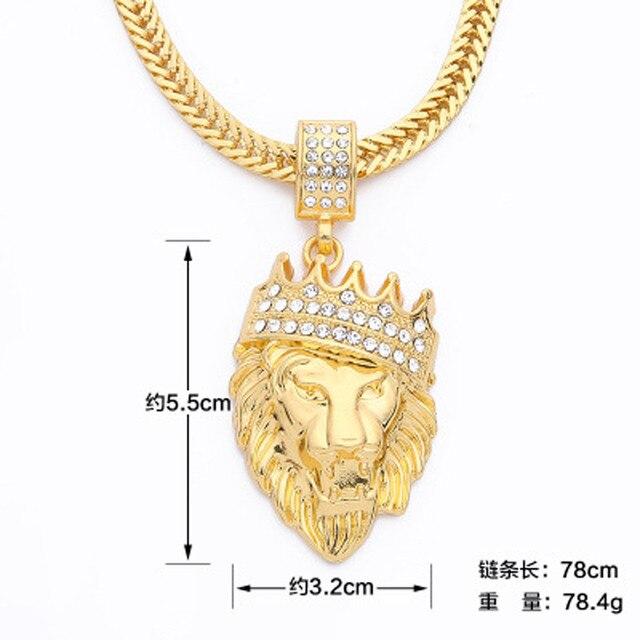 Collares de cadena de Hip hop para hombre con diamantes de imitación y corona de León, joyería de oro para hombre #7-8