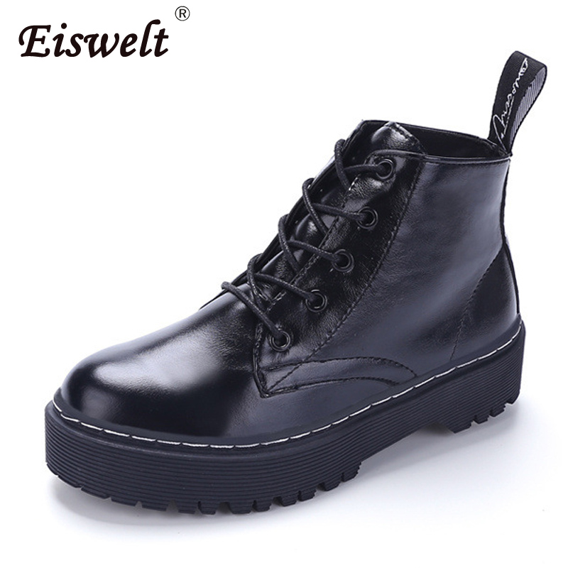 EISWELT women boots female leather ankle boots platform heel shoes ladies comforty lace-up round toe autumn winter flat#ZQS083 comforty модена 75r правостороннее белое