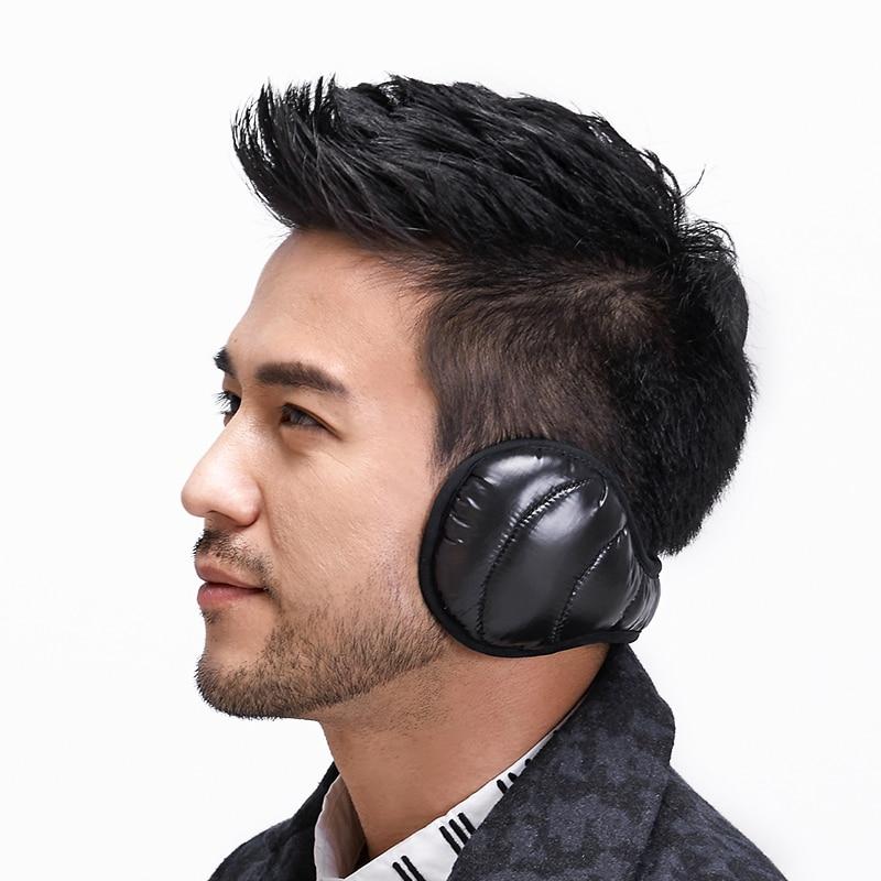 Earbag Winter Earmuffs White Dark Down Ear Muff Foldable Ear Warmers Plush Faux Leather Ear Bag Adjust Back Orejeras Hombre