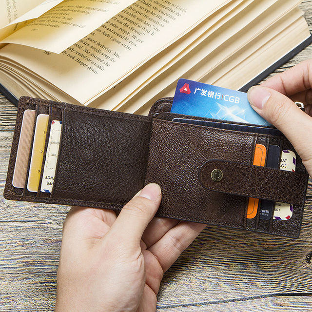 CONTACT'S genuine leather credit card holder Rfid vintage male coin pocket purse mini wallet porte carte business card holders 5