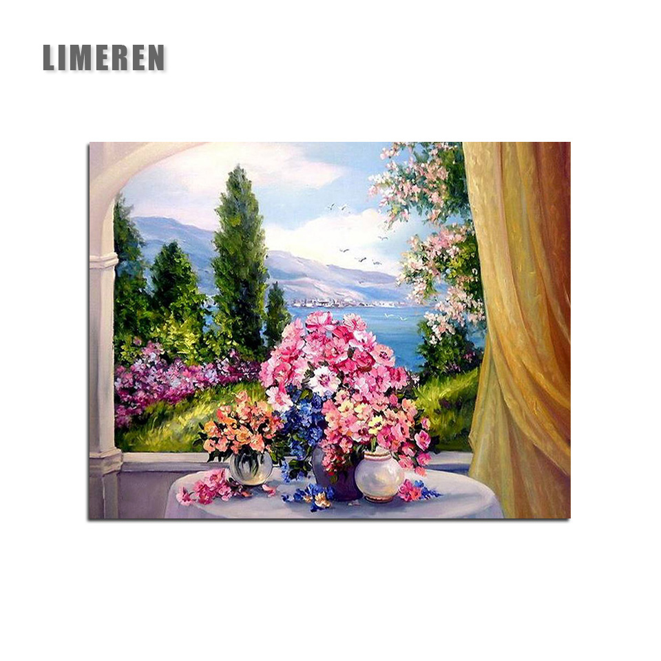 DIY Unframed Oil Painting By Numbers Flowers Picture Canvas Living Room Wall Art