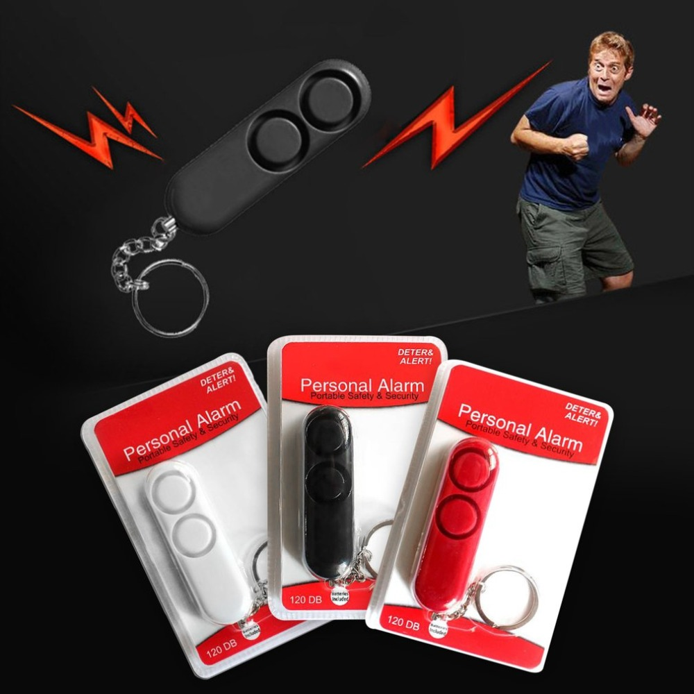 120dB Anti-rape Device Self Defense Alarm Dual Speakers Alarm Alert <font><b>Attack</b></font> Panic Safety Personal Security Keychain Bag Pendant image